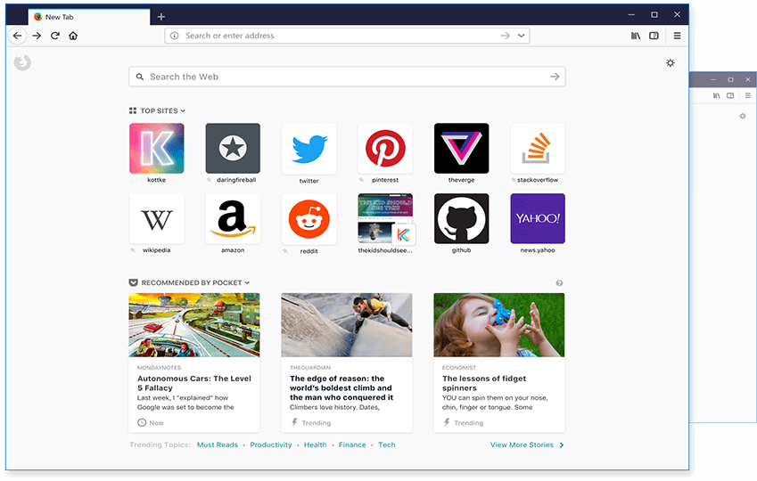 Screenshot of the redesigned Firefox new-tab page.