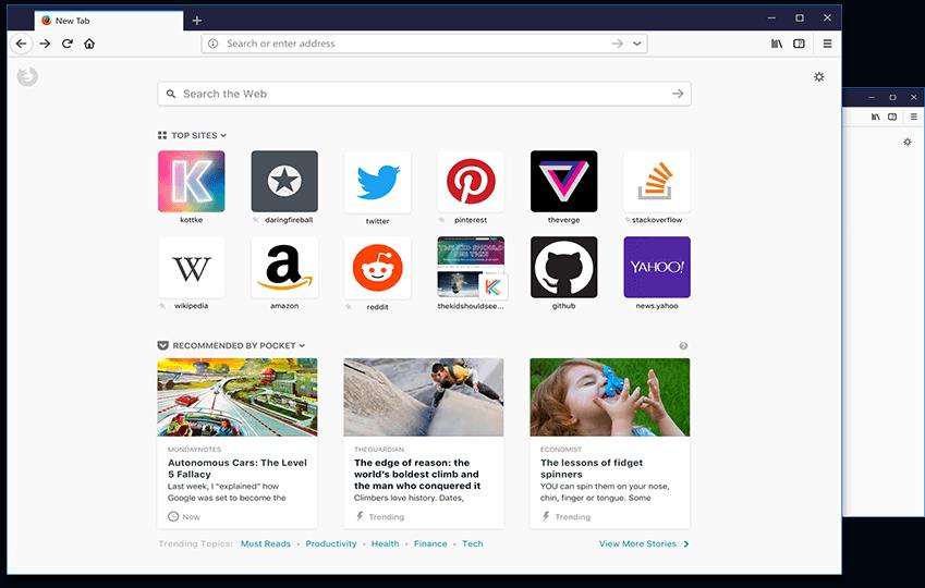 重新设计的 Firefox 新标签页的截图。