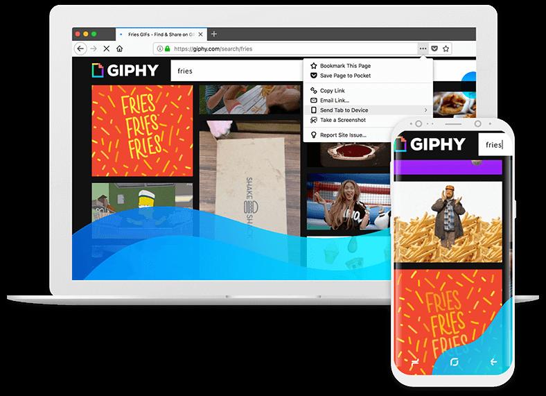 Slika Gif-a, poslanega z namizne na mobilno napravo z možnostjo Pošlji zavihek.