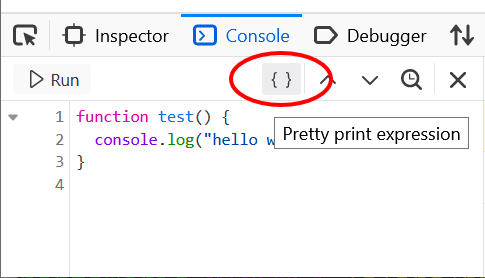 Console Editor Pretty Print Expression Screenshot