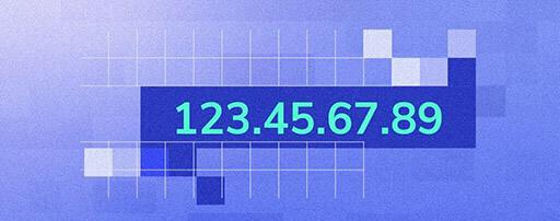 Ukázka IP adresy, jež je tvořena sledem čtyř čísel oddělených tečkami: 123.45.67.89