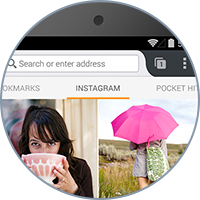 Add your favorite feeds, like Instagram, to your Firefox for Android home panel for instant access.